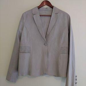 Armani Collezioni tan gray goat leather blazer 12